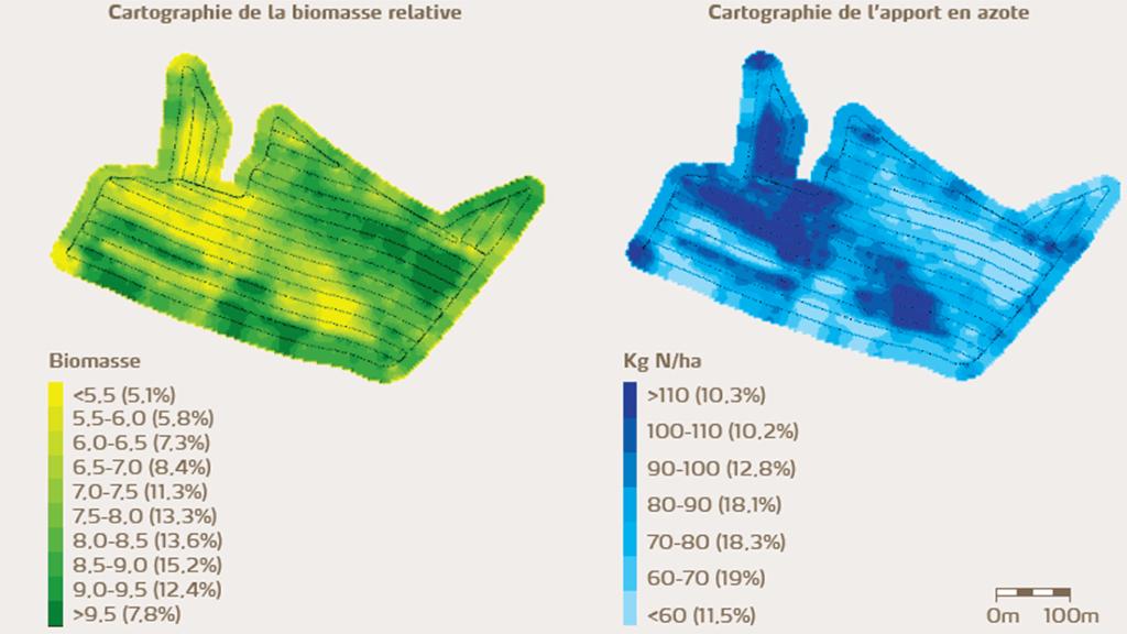 Cartographie d'épandage modulé d'azote